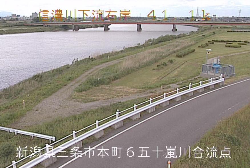 信濃川五十嵐川合流点ライブカメラ(新潟県三条市本町)