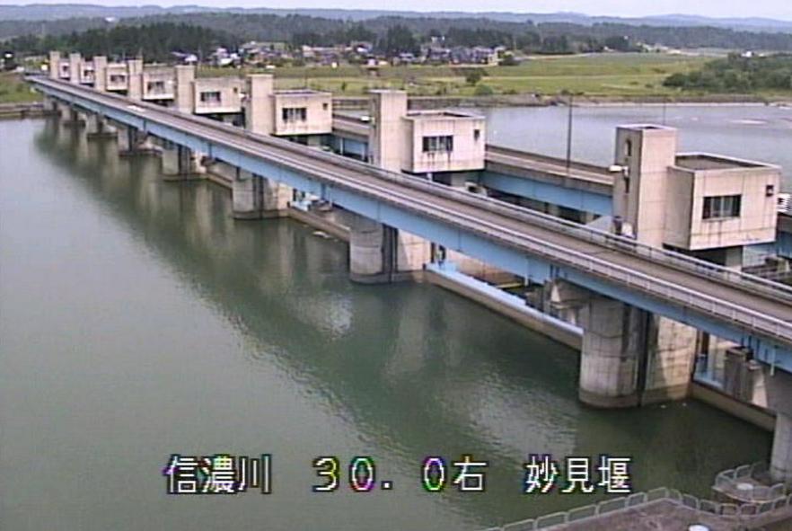 信濃川妙見堰ライブカメラ(新潟県長岡市妙見町)