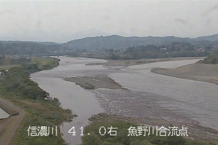 信濃川魚野川合流点ライブカメラ(新潟県長岡市川口)