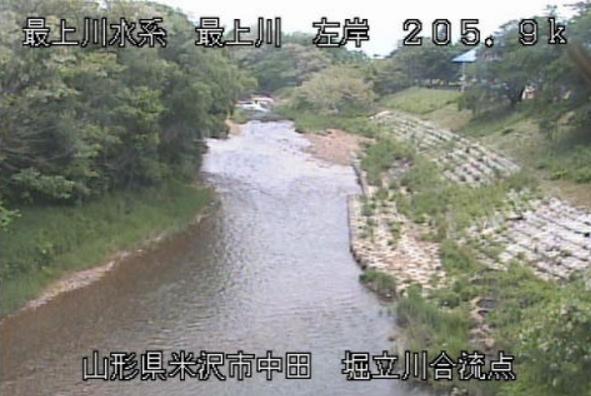 最上川堀立川合流点ライブカメラ(山形県米沢市中田町)