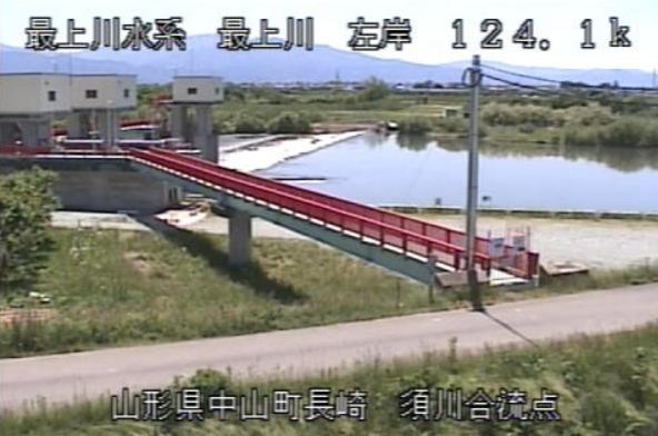 最上川須川合流点ライブカメラ(山形県中山町長崎)