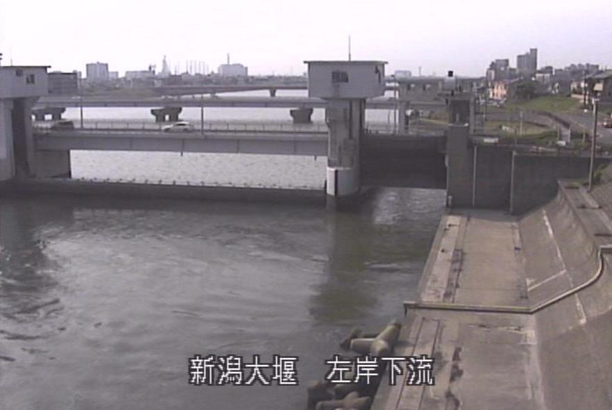 信濃川新潟大堰ライブカメラ(新潟県新潟市西区)