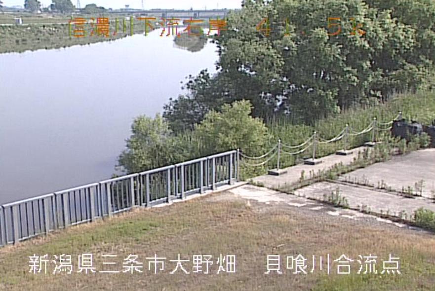 信濃川貝喰川合流点ライブカメラ(新潟県三条市大野畑)