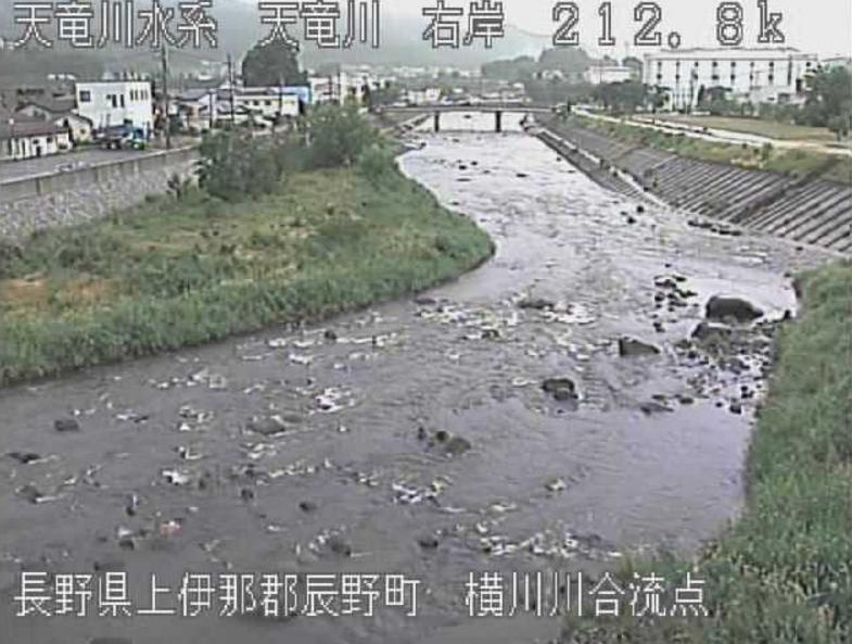 天竜川横川川合流点ライブカメラ(長野県辰野町辰野)