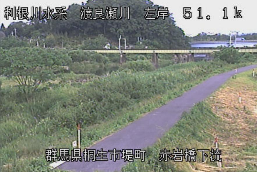 渡良瀬川赤岩橋下流ライブカメラ(群馬県桐生市堤町)