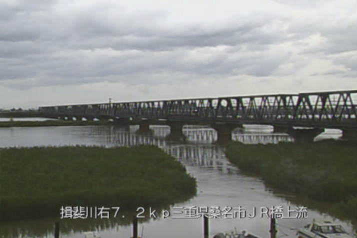 揖斐川JR関西本線橋梁上流ライブカメラ(三重県桑名市上之輪新田)