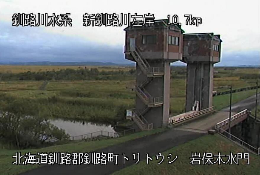 新釧路川岩保木水門ライブカメラ(北海道釧路町鳥通原野)