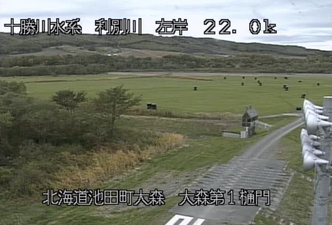 利別川大森第1樋門ライブカメラ(北海道池田町大森)