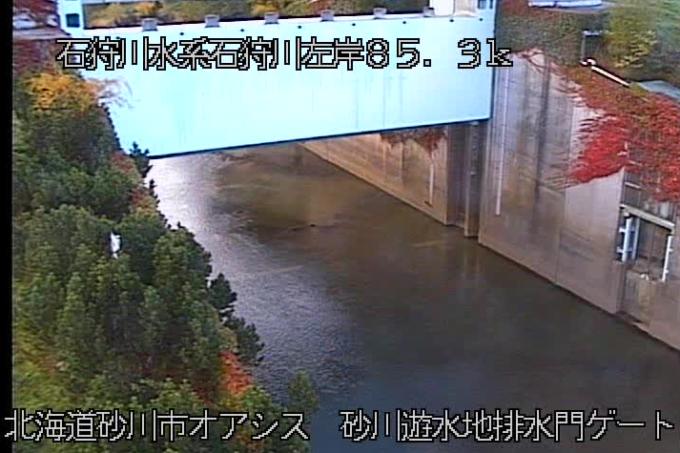 石狩川砂川遊水地排水門ゲートライブカメラ(北海道砂川市西五条)
