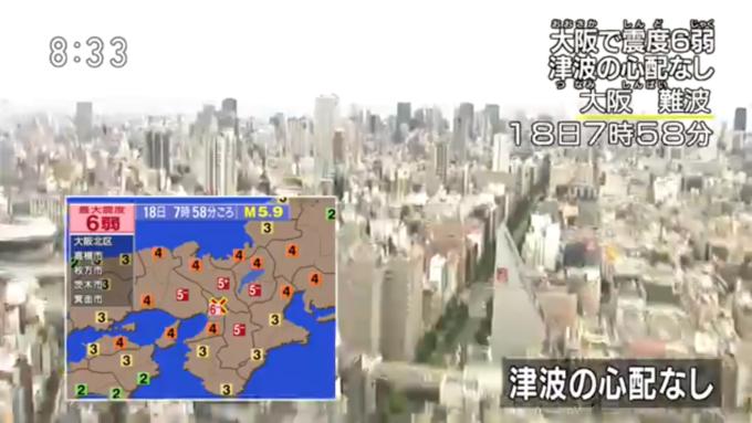 NHK大阪震度6弱ライブカメラ(2018年6月18日発生)