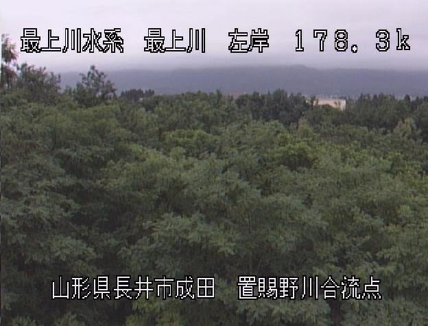 最上川置賜野川合流点ライブカメラ(山形県長井市成田)
