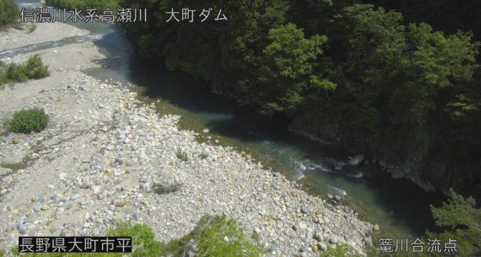 高瀬川篭川合流点ライブカメラ(長野県大町市平)