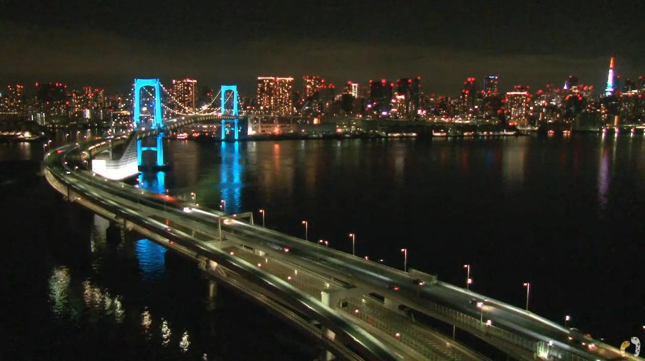 ちんあなレインボーブリッジ東京タワーライブカメラ(東京都港区台場)