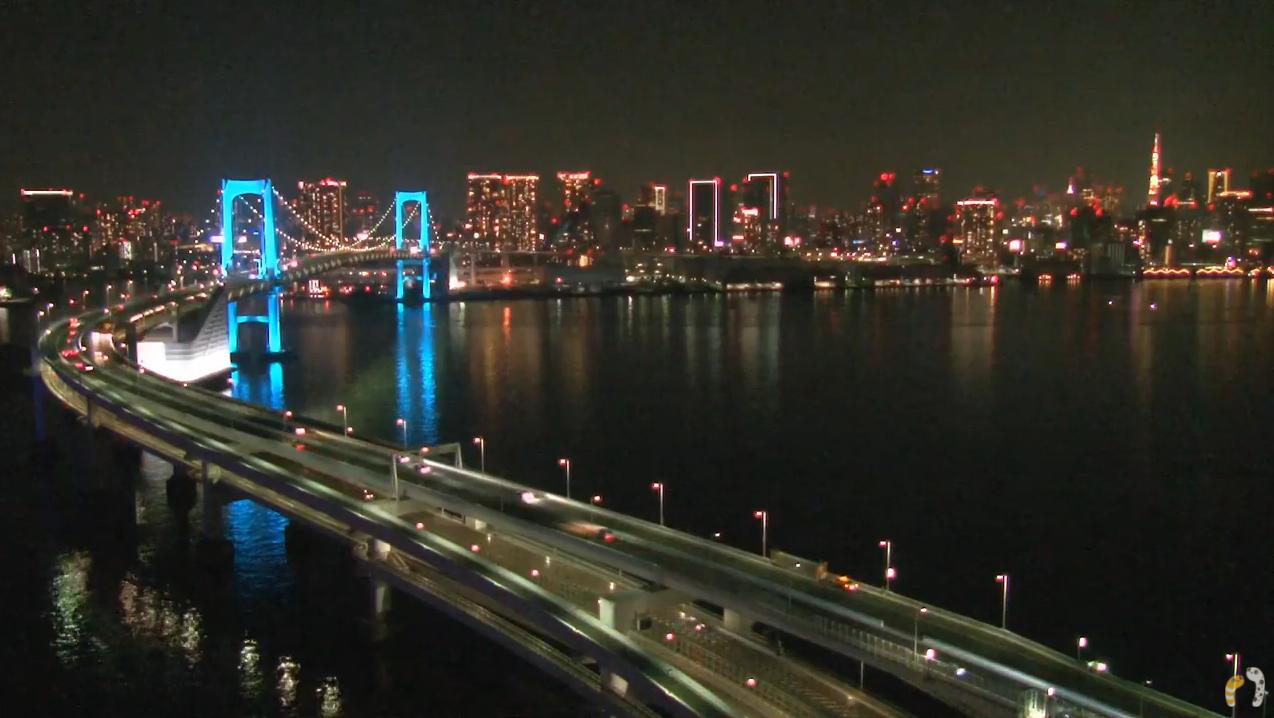 ちんあなレインボーブリッジ東京タワー4Kライブカメラ(東京都港区台場)