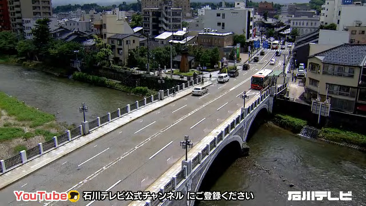 石川テレビ浅野川大橋ライブカメラ(石川県金沢市東山)