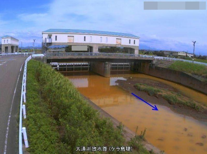 大通川放水路ケラ島堰ライブカメラ(新潟県燕市雀森)
