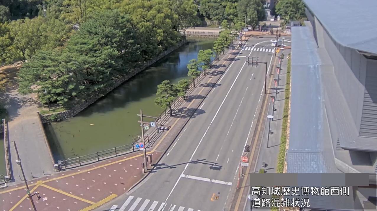 高知城歴史博物館西側道路混雑状況ライブカメラ(高知県高知市追手筋)