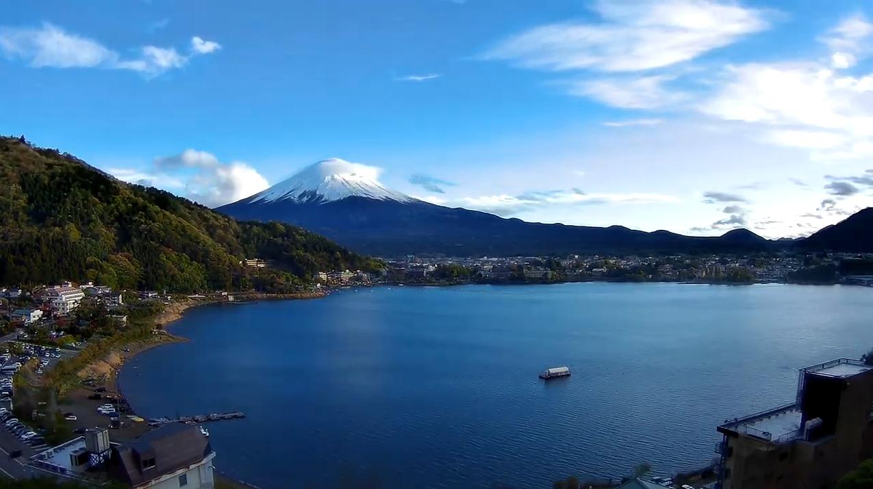 湖のホテル富士山ライブカメラ(山梨県富士河口湖町浅川)